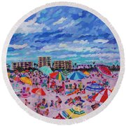 Right Panel Of Triptych Busy Relaxing Round Beach Towel