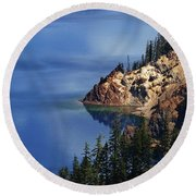 Right Side Of Crater Lake Oregon Round Beach Towel