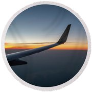 Right Wing Of Airplane In Mid Air With Sunrise In The Background Round Beach Towel