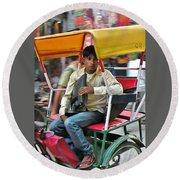 Rikshaw Rider - New Delhi India Round Beach Towel