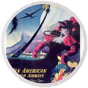 Rio, Brazil, Pan American Airways, Dancing Woman Round Beach Towel