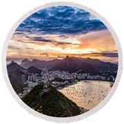Rio De Janeiro Sunset Round Beach Towel