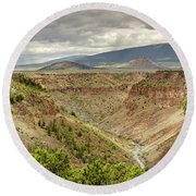 Rio Grande Gorge At Wild Rivers Recreation Area Round Beach Towel