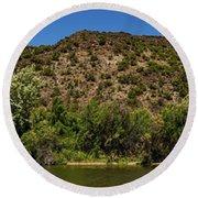 Rio Grande Panorama Pilar New Mexico Round Beach Towel