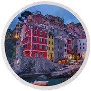 Riomaggiore In Cinque Terre Italy Painterly Round Beach Towel