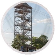 Rip Line Tower At Coba Village Round Beach Towel