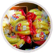 Ripe Bananas In A Box At The Store Round Beach Towel