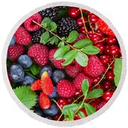 Ripe Of  Fresh Berries Round Beach Towel
