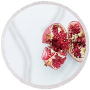 Ripe Pomegranate Fruit On A White Background Round Beach Towel