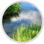 Clear And Gentle Flow Round Beach Towel