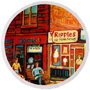 Ripples Ice Cream Factory Round Beach Towel