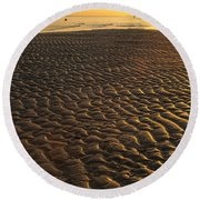 Ripples In The Sand Low Tide Golden Sunset Round Beach Towel