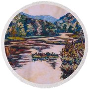 Ripples On The Little River Round Beach Towel