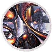 Rippling Fantasy Abstract Round Beach Towel