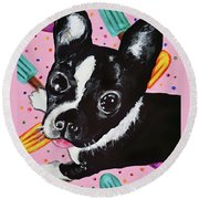 Popsicle Pup Round Beach Towel