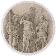 Risen Christ Between Saints Andrew And Longinus Round Beach Towel