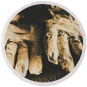 Rising Mummy Hands In Bandage Round Beach Towel