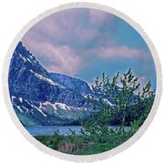 Rising Wolf Mountain And Two Medicine Lake Round Beach Towel