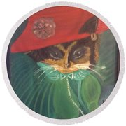 Rita Cat Round Beach Towel