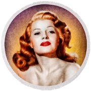 Rita Hayworth, Vintage Actress Round Beach Towel