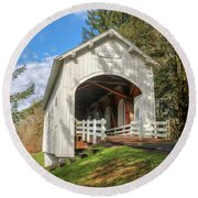 Ritner Creek Covered Bridge 0739 Round Beach Towel