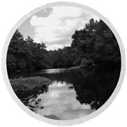 River And Clouds 2 Round Beach Towel