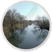 River At Marston On Dove Round Beach Towel