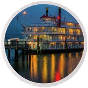River Boat At Dusk Round Beach Towel