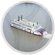 River Boat Round Beach Towel