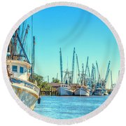 Darien Shrimp Boats Round Beach Towel