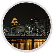 Ohio River Bridges And Louisville Skyline Round Beach Towel