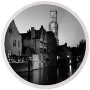 River Dijver And The Belfort At Night, Rozenhoedkaai, Bruges Round Beach Towel