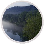 River Flowing In A Forest Round Beach Towel