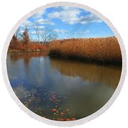 River Hudson Autumn Creek Round Beach Towel