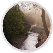 River In Afternoon Sunhaze  Round Beach Towel