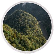 River In Forest Mountains Round Beach Towel