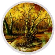 River In The Forest Round Beach Towel