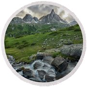 River In The French Alps Round Beach Towel