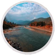 River In The Kingdom Of Happiness Round Beach Towel