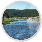 River In Yellowstone Round Beach Towel