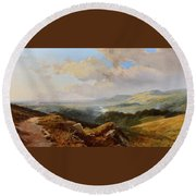 River Landscape Round Beach Towel