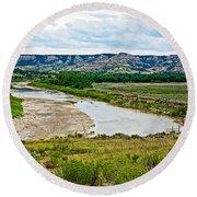 River Landscape In Northwest North Dakota  Round Beach Towel