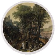 River Landscape In The Spring With Castle And Noblemen Round Beach Towel