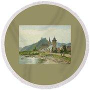River Landscape Of The Rhine Round Beach Towel