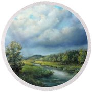 River Landscape Spring After The Rain Round Beach Towel