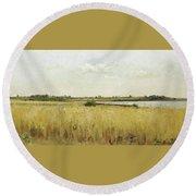 River Landscape With Cornfield Round Beach Towel