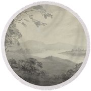 River Landscape With Ruins Round Beach Towel