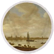 River Landscape With View Of Vianen Round Beach Towel