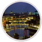 River Liffey Bridges, Dublin, Ireland Round Beach Towel