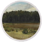 River On The Edge Of A Wood Round Beach Towel